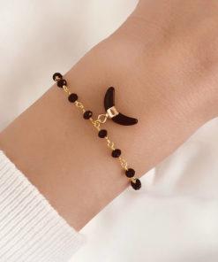 Bracelet corne lune noir