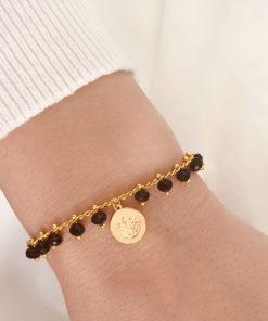 Bracelet medaille perles swarovski