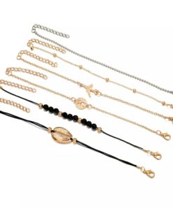 Ensemble bracelets coquillage dore