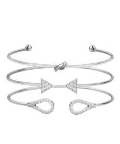 Ensemble bracelets femme strass argent
