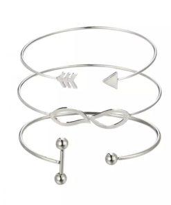 Ensemble bracelets tendance argent
