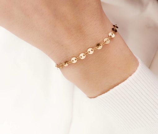 bracelet tendance plaque or