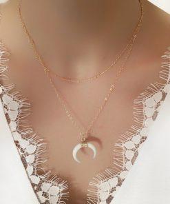 collier createur corne blanc