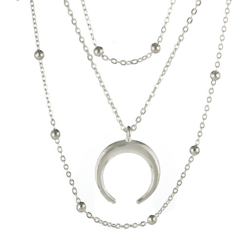 collier multirangs corne lune