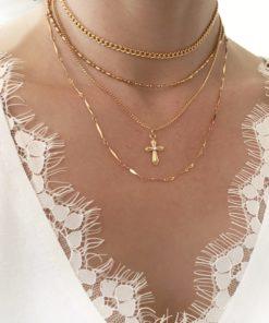 collier multirang croix plaque or