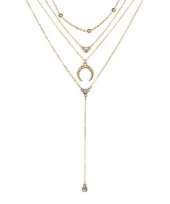 collier multirangs corne pierre swarovski