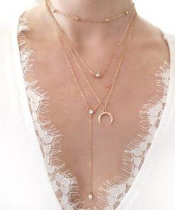 collier multirangs corne pierre swarovski
