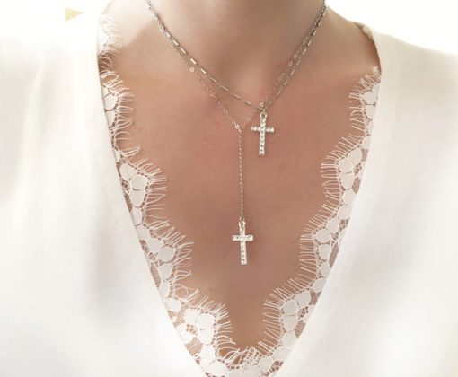 collier multirangs croix strass