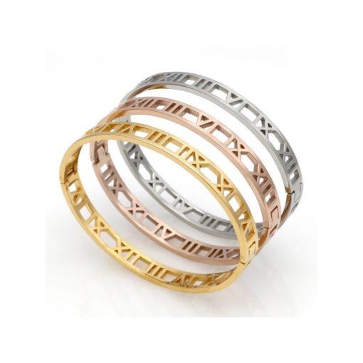 Bracelet Jonc chiffres romain or rose