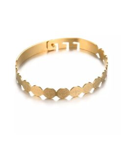 Bracelet Jonc ruban plaque or