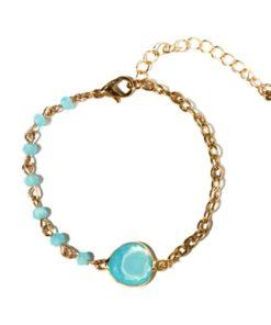 Bracelet createur pierre aigue marine