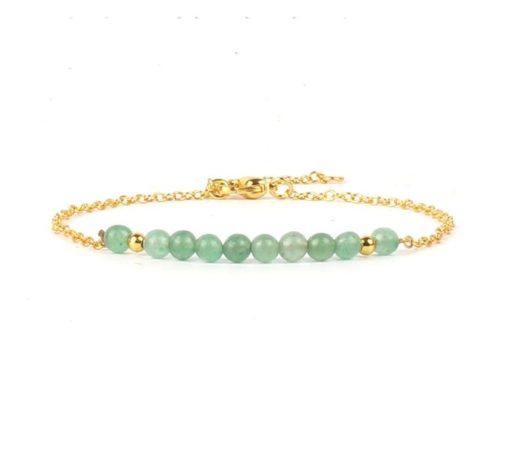 Bracelet dore pierre aigue marine
