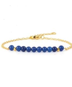 Bracelet dore pierre bleue