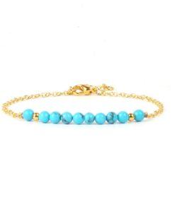 Bracelet dore pierre turquoise