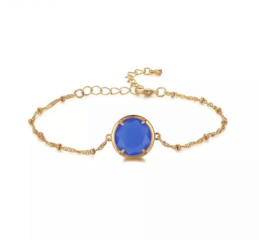 Bracelet fantaisie avec pierre bleu