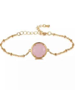 Bracelet fantaisie avec pierre rose