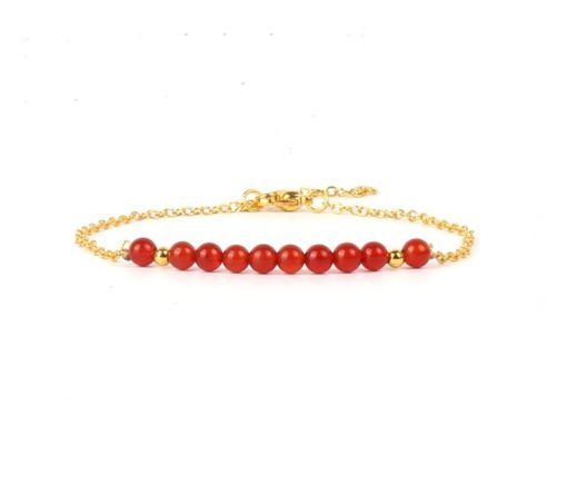 Bracelet fin pierre rouge