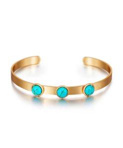 Bracelet jonc pierres turquoise