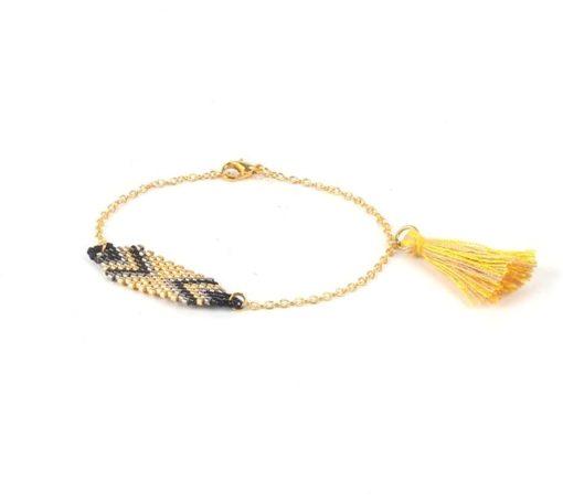 Bracelet perles miyuki plaque or