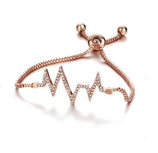 Bracelet tendance strass or rose