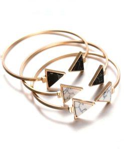 Bracelet triangle marbre blanc et noir