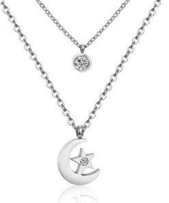 Collier lune pendentif oxyde de zirconium