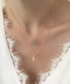 collier multirang pierre verte