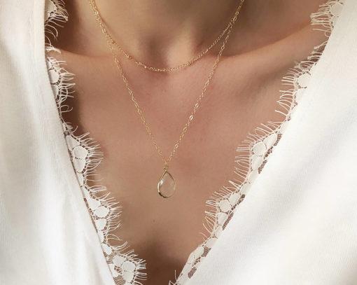 collier multirangs femme pierre