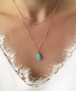 collier multirangs pierre bleu