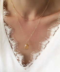 collier multirangs pierre jaune