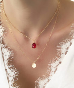 collier multirangs pierre rouge
