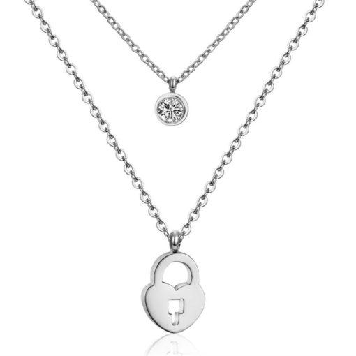 Collier pendentif coeur oxyde de zirconium