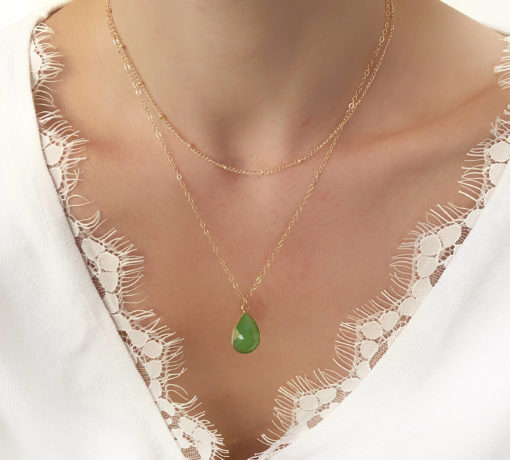 collier ras du cou pierre verte