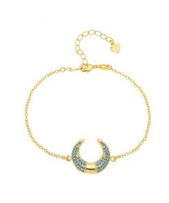 Bracelet corne lune pierre turquoise