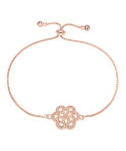 Bracelet fleur or rose