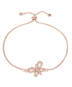 Bracelet papillon or rose