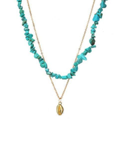 Collier coquillage pierre turquoise
