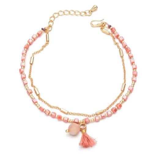 Bracelet boheme corail
