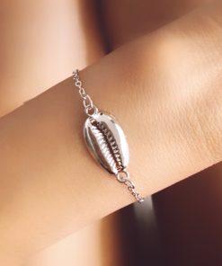 Bracelet coquillage plaque argent
