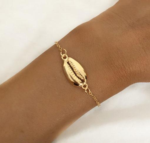 Bracelet coquillage plaque or