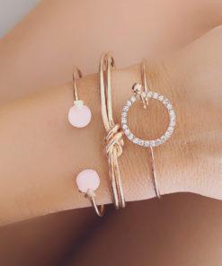Lot 3 bracelets joncs metal dore