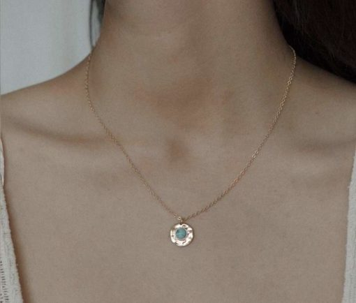 Collier pierre ronde turquoise