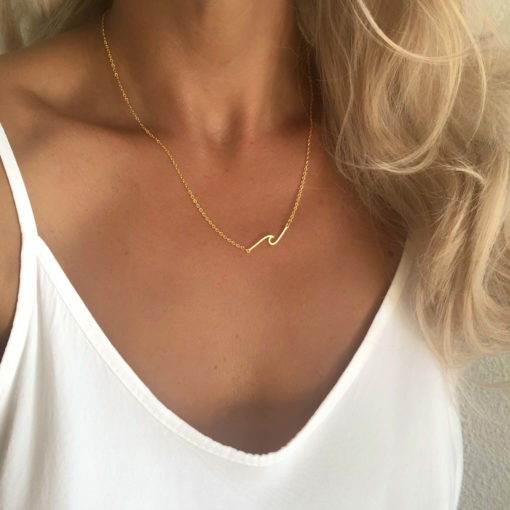 collier cadeau femme- vague doree